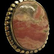 Vintage Large Rhodochrosite Cabochon Sterling Silver Ring Sz 6.5