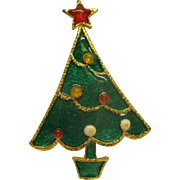 Book Piece Vintage Signed BEATRIX Green Enameled Christmas Tree Pin Broach