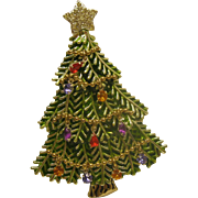Vintage Signed AVON Christmas Tree Pin Broach