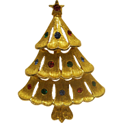 Book Piece Vintage Signed JJ Christmas Tree Pin Broach