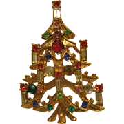 Vintage Unsigned Christmas Tree Pin Broach