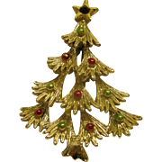 Book Piece Vintage Signed Gerry's Christmas Tree Pin Broach