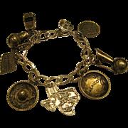 Vintage Sterling Silver Southwestern Mexico Theme Charm Bracelet