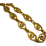"Vintage Signed Goldette Delicate Rhinestone Gold tone Link Necklace 24"" Long"