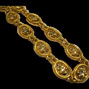 """Vintage Signed Goldette Delicate Rhinestone Gold tone Link Necklace 24"""" Long"""
