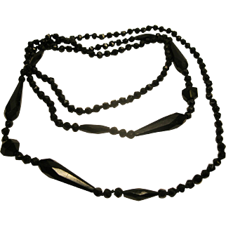 """Antique Victorian French Jet Faceted Bead Mourning Necklace 52"""" Long"""