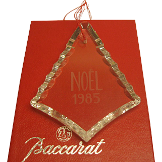 Vintage 1985 Signed Baccarat Crystal Annual Christmas Ornament in Original Box