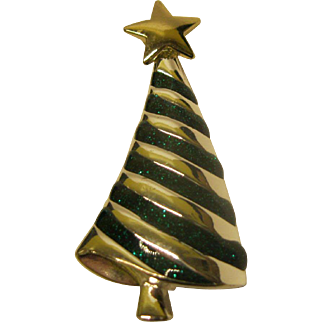 Vintage Unsigned Modernist Christmas Tree Pin Broach