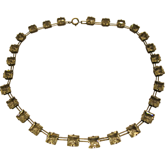 Vintage Art Deco Sterling Silver Clear French Paste Radiant Cut Open Back Riviere Necklace