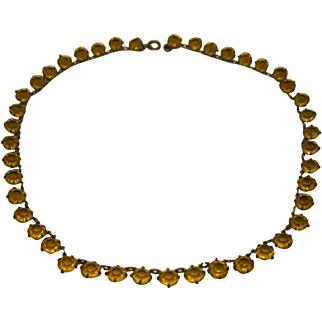 Antique Edwardian Sterling Silver French Paste Citrine Color Open Riviere Choker Necklace
