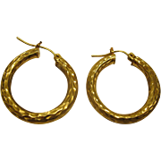 Vintage 14 Karat Hammered Yellow Gold Hoop Pierced Earrings