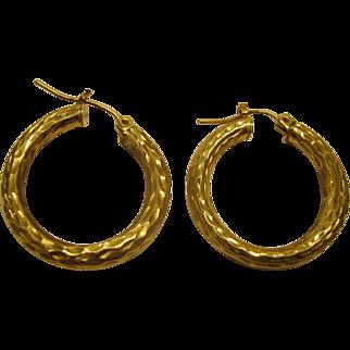 Vintage 14 Karat Hammered Yellow Gold Hoop Pierced Earrings