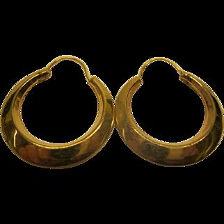 Vintage 1970's 10 Karat Etched Yellow Gold Hoop Pierced Earrings