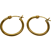 Vintage 14 Karat Yellow Gold Hoop Pierced Earrings