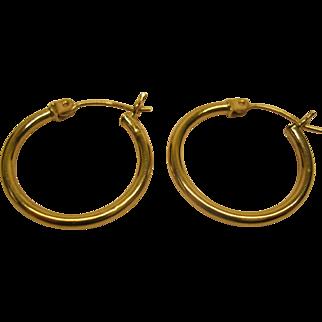 Vintage 14 Karat Yellow Gold Hoop Pierced Earrings