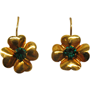 Vintage 14 Karat Rose Gold 4 Leaf Clover Drop Pierced Earrings Synthetic Emerald Center