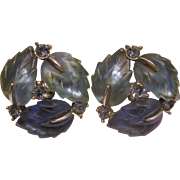 Vintage Signed Lisner Blue Lucite Rhinestone Leaf Clip Earrings