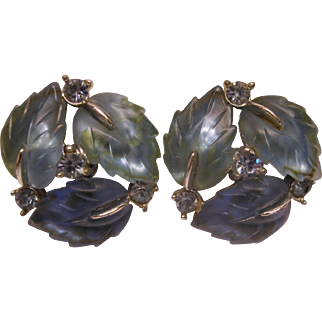 Vintage Signed Lisner Blue Lucite Rhinestone Leaf Clip Earrings