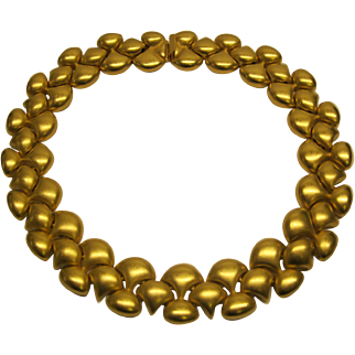 Vintage Signed Erwin Pearl Wide Gold Tone Necklace