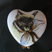 Limoges Signed Hand Painted Porcelain heart Shaped Cat Box