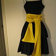 Vintage Designer Black 100% Cotton Sundress --Made in Italy-- Size 44