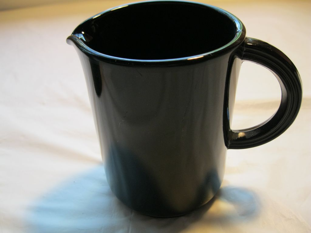 Vintage Depression Black Glass Pitcher