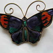 Vintage David Anderson Sterling Silver Enamel Butterfly Broach/Pin