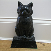 Vintage Large Cast Iron Black Cat Doorstop--12 Inches High