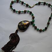 Hobe Tigereye & Green Glass Bead Necklace wi Cloisonne Pendant wi  Tassel