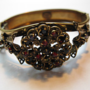Vintage Signed Hobe Art Nouveau Ruby Red & Purple Stone Gold Tone Metal Bracelet