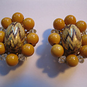 Vintage Signed Hobe Clip Earrings--Peach Tone & Crystal Stones