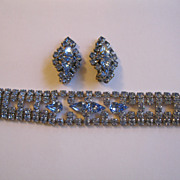 Vintage Blue Rhinestone Bracelet and Clip Earrings Set