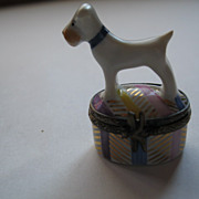 White Terrier Signed Limoges Box