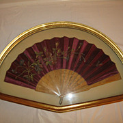 Antique 19th Century Burgundy Silk Framed Fan