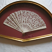 Antique 19th Century Ivory Lace  Framed Fan