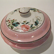 Antique  Marked Pink wi Rose Design Porcelain Hand Painted Dresser Jar/ Powder Jar