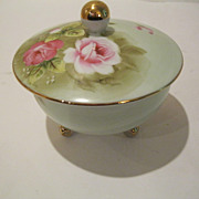 Vintage Marked Hand Painted China Rose Dresser Jar