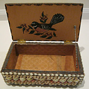 Vintage Folk Art Shell Box