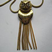 Vintage Signed Hobe Owl Necklace