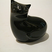 Baccarat  Crystal Black Sitting Cat Signed