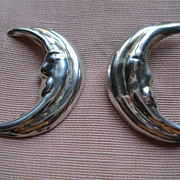 Vintage 1980's Taxco Mexico Handmade Sterling Man in Moon Pierced Earrings