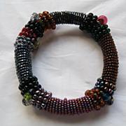 Vintage 1980's Handmade Beaded Bangle Bracelet