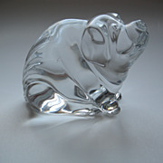 Waterford Signed Crystal Pig