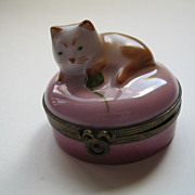 Limoges Castle France Cat Playing with Yarn  Porcelain Box