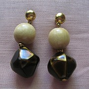 Vintage 1980's Signed YSL Yves Saint Laurent Pierced Earrings-Beige and Brown