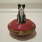 Dubarry Limoges Black & White Cat Box Hand Painted