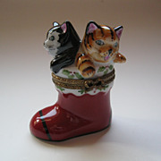 Limoges Two Kittens in a Christmas Stocking Box Signed & Hand Painted