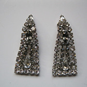 Vintage Rhinestone Long Clip Earrings