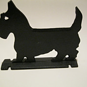 Vintage Signed 1900's Cast Iron Black Scottie Dog Boot Scraper Doorstop