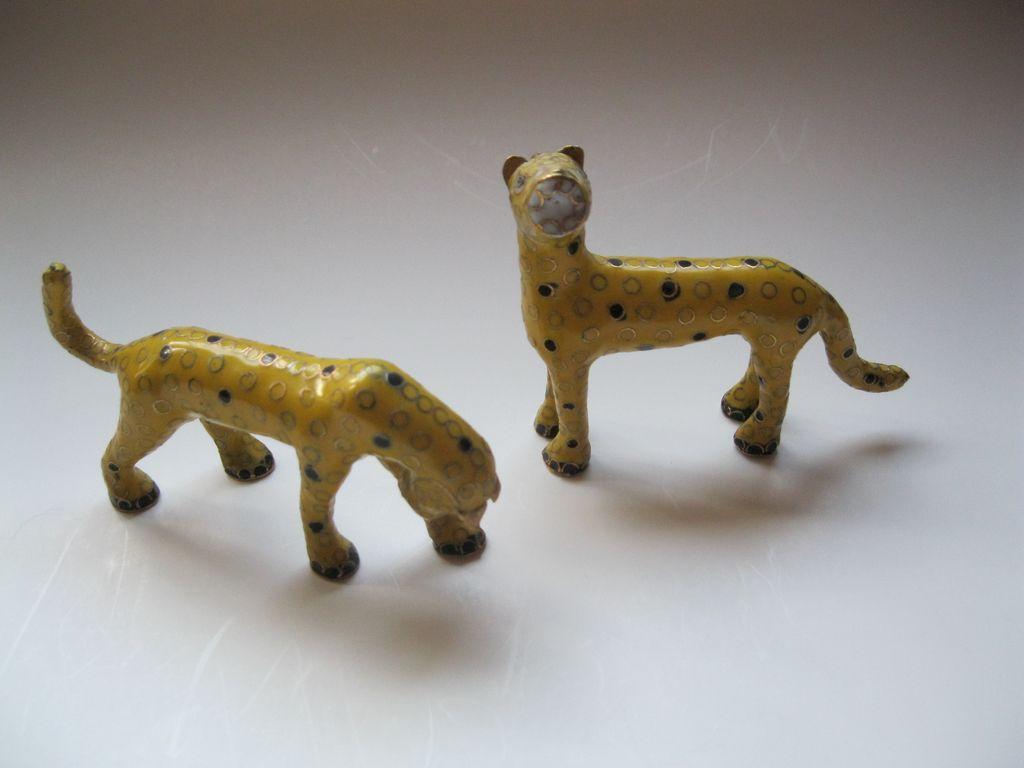 Vintage 1980's Pair of Cloisonne Leopards